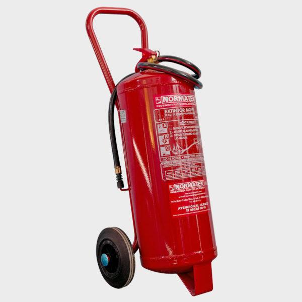 Extintor móvil de carro de 25 kg de polvo ABC