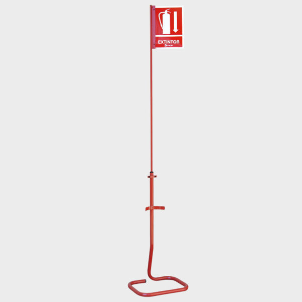 Peana soporte para extintor con mástil para señal