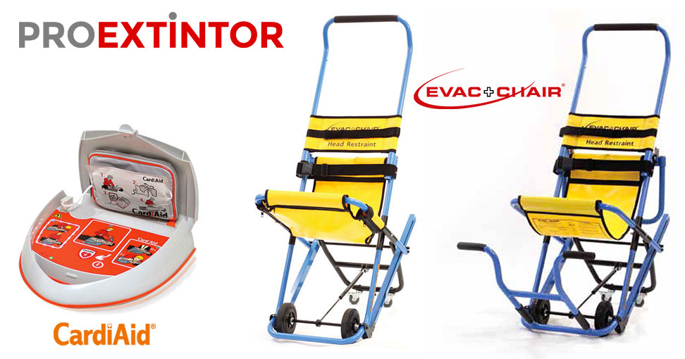 Desfibrilador CardiAid y Silla de evacuación Evac+Chair