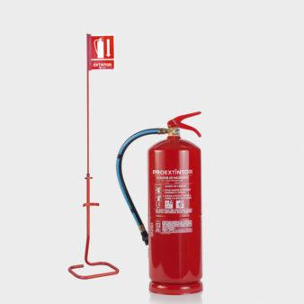Extintor con soporte de suelo y señal