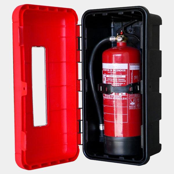 Armario para extintores abierto