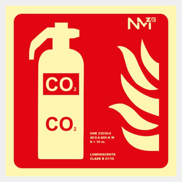 Señal de extintor CO2