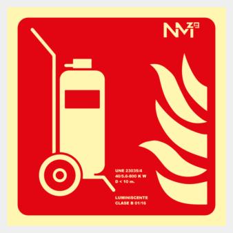 Señal de carro extintor