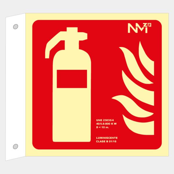 Banderola con señal de extintor