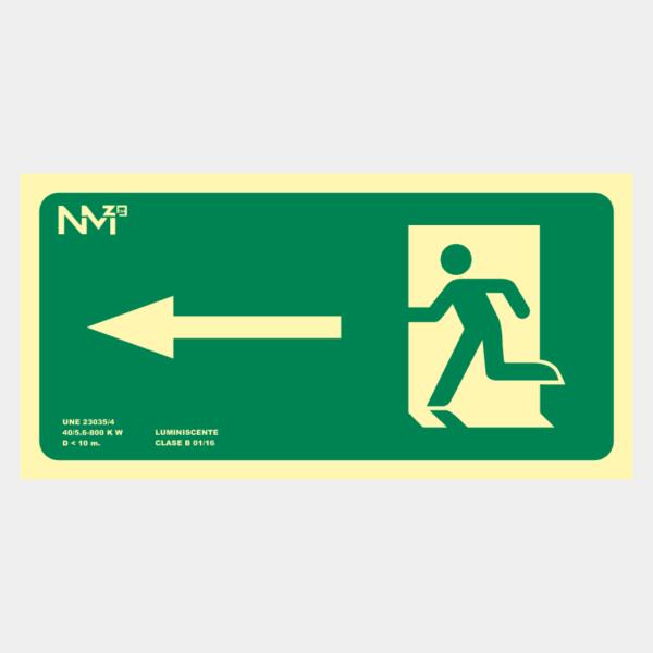 Señal de evacuación flecha izquierda