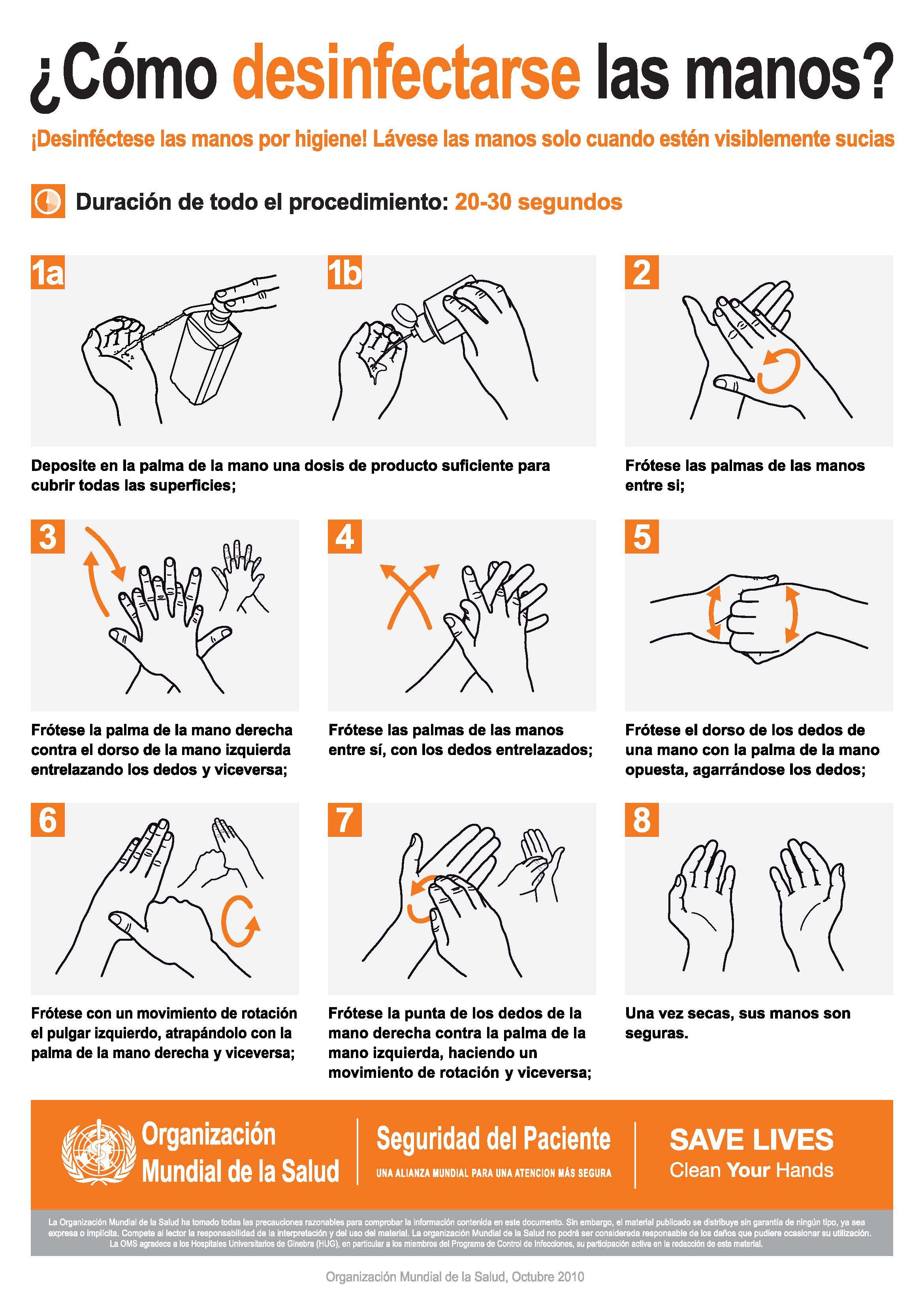 Comos desinfectarse las manos